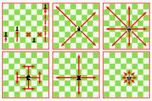 Diagram of how each piece moves in chess.